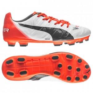 Puma evoPOWER 1.2 AG Hvid-Navy-Orange fodboldstøvler