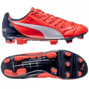 Puma evoPOWER 1.2 Skind FG Orange-Hvid-Navy fodboldstøvler