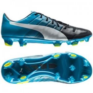 Puma evoPOWER 1.3 FG Sort-Hvid-Blå fodboldstøvler