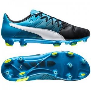 Puma evoPOWER 1.3 Skind FG Sort-Hvid-Blå fodboldstøvler
