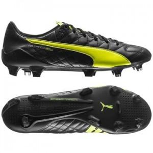 Puma evoSPEED SL Skind FG Sort-Gul fodboldstøvler